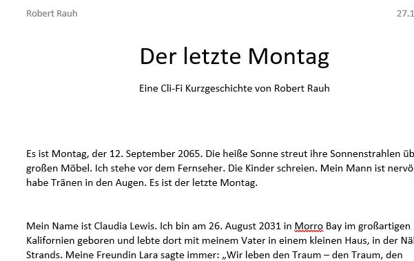 """""""Der letzte Montag"""" – eine Climate Fiction Kurzgeschichte"""